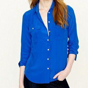 J.Crew Silk Blythe Button Down Blouse Blue Size 2